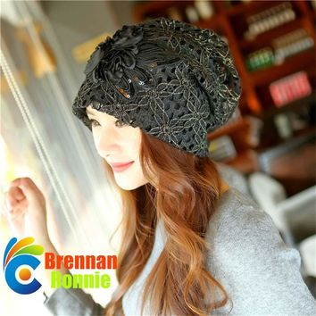 Lace Double Flowers Women's Spring Hat Bonnet Beanies Knitted Autumn Hat Caps Skullies Hat Female Keep Warm Windproof Warm Cap