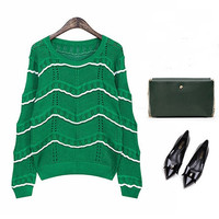 Mix-color Mosaic Sweater Hollow Knitting Top