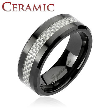 Silver Carbon Fiber Center Black Ceramic Ring 8mm Men's Wedding Band