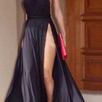 Black One-Shoulder Backless Double Slit Dress