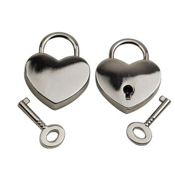 New Hot Sale Mini Padlock Heart Shape Luggage Case Padlock With Key Silver Home Improvement Hardware Travel Accessory Alloy Lock