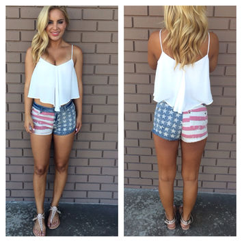 Distressed Patriotic Denim Shorts