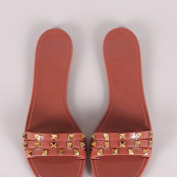 Qupid Studded Jelly Slide Sandal