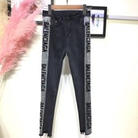 Balenciaga Fashion Jeans With Crystals