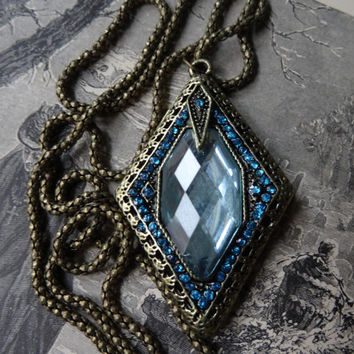 1- Diamond Blue Necklace Vintage Style Art Deco 1920's Style Blue Rhinestone Boho Chic Costume Jewelry