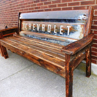 Reclaimed 100+ Barn Wood Chevy Tailgate Bench