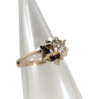 Elegant 18K solid gold Belcher set for a petite diamond solitaire, natural modern cut, French stamped engagement ring