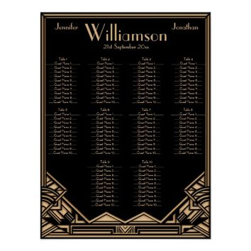 Black Gold Art Deco Style Wedding Seating Chart Print