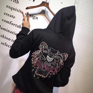 kenzo women casual fashion sequin letter tiger head embroidery long sleeve hooded sweater sweatshirt tops