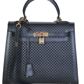 Hermes Black Leather H Embossed 28CM Kelly