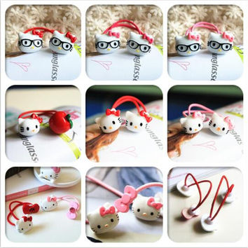New Arrival styling tools hello kitty bow elastic hair bands hair accessories for women girl children make you fashion