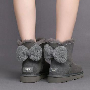DCCKBA7 UGG Women Cute Bow Casual Boots Shoes