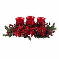 SheilaShrubs.com: Poinsettia and Berry Triple Candleabrum 4914 by Nearly Natural : Outdoor Garden Decor Wreaths