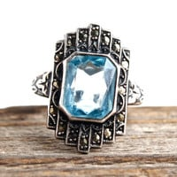 Vintage Sterling Silver Genuine Art Deco Ring -  Unca 1920s 1930s Size 5.5 Baby Blue Glass Stone Costume Jewelry / Marcasite Shield