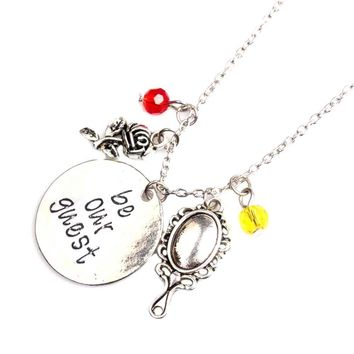 """Fashion Movie Jewelry Beauty and the Beast Necklace """"be our guest""""Handwriting Letter Maxi Necklace for Women Soul Mate Gifts"""