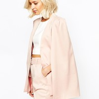 Lavish Alice Collarless Cape Blazer in Blush at asos.com