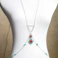 Tribal Geometry - Sterling Plated Body Chain w/ Turquoise Beads and Native Pendant - Sexy Festival / Belly Dance Wear!