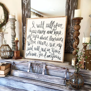 Oceans 2x2 Hand Lettered Wood Sign