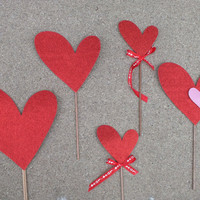 Photo booth props: VALENTINE HEARTS  and mustaches