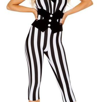 Sexy Beetlejuice Scary Spirit 3/4 Halloween Catsuit with Tie and Waist Cincher
