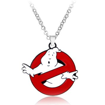 Glow In Dark Ghostbusters Ghost Alloy Pendent Necklace Belt Buckle Red Mens Logo Chain Statement Gift For Fans Movie Jewelry