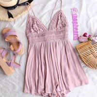 solid lace inset romper - silver rose