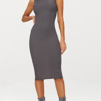 Basic Charcoal Grey Ribbed Neck Midi Dress