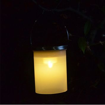 waterproof Solar Power Hanging Cylinder Lanterns LED Landscape Path Yard Garden Outdoor Holidays camping tent light lamp