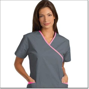 Fashion Seal Women's Fashion Poplin Cross-Over Tunic with Contrasting Trim - Pewter, Pretty Pink