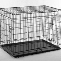 "Black-Large 24"" X 20"" X 23"" Pet Folding Dog Cat Crate Cage Kennel w/Metal Pan"