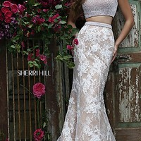 Long Sherri Hill Two Piece Lace Prom Dress SH-11278