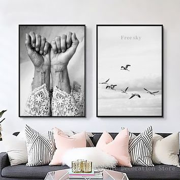 nordic poster Black And White Love Warrior Posters Prints Wall Art Canvas Painting Sky Bird Hand Abstract Canvas(NO FRAME NO STR