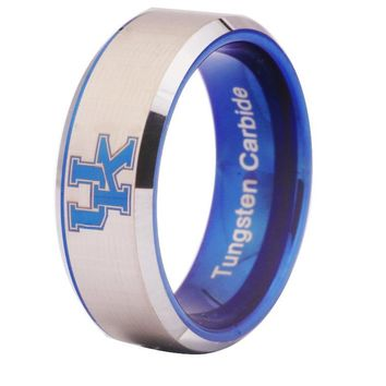 University of Kentucky Wildcats | UK | Tungsten Ring Band | Blue on Silver | 8MM