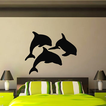 Dolphin Wall Decal Vinyl Stickers Ocean Sea Animal Wall Decals Murals Wall Art Nursery Bedroom Bathroom Interior Design Home Decor Z838