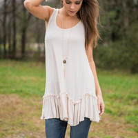 Ruffle Delight Tank, Cream
