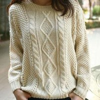 Beige Round Neck Broken Stripe Cable Sweater S008