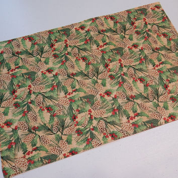 Handmade Fabric Placemat Holly and Red for Holidays 13x20 inches