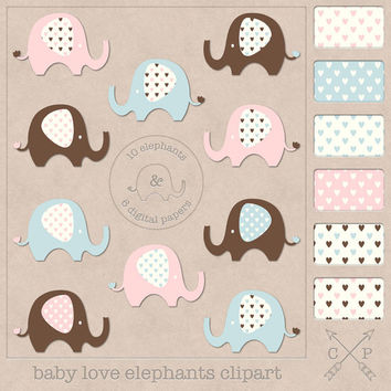 baby elephant clip art and hearts digital papers. Cute elephant clipart and hearts paper for scrapbooking, blog backgrounds, graphic design