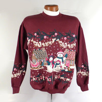 Ugly Christmas Sweater Vintage Sweatshirt Teddy Bears Party Xmas Tacky Holiday M