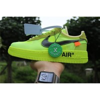 """OFF-WHITE X AIR FORCE 1 """"Fluorescent Green"""" AO4606-700"""