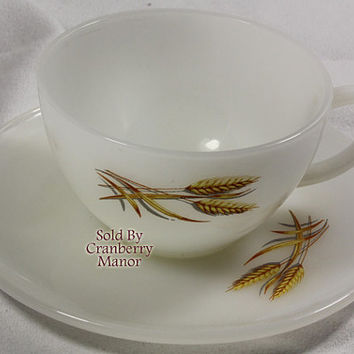Vintage Fire King by Anchor Hocking Wheat Milk Glass Tea Cup & Saucer PG2010