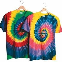 TIE-DYE Multi-Color Cut-Spiral Short Sleeve T-Shirt - 200MS (Pastel Rainbow Spiral / L)