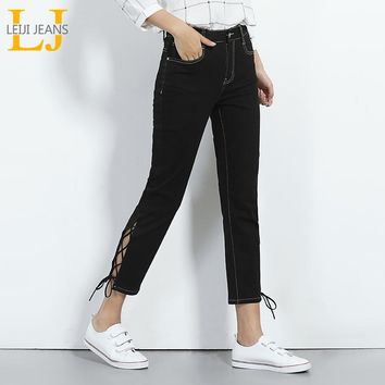 LEIJIJEANS 2017 Fashion Summer New Arrival Plus Size Women L-6XL High Waist Mid Elastic Lace Up Skinny Ankle Length Denim Jeans