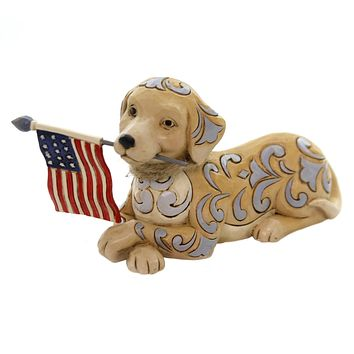 Jim Shore WAG THE FLAG Polyresin Dog Holding Flag 4056950