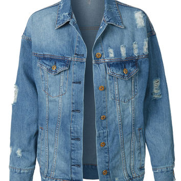 LE3NO Womens Vintage Oversized Ripped Boyfriend Denim Jean Jacket