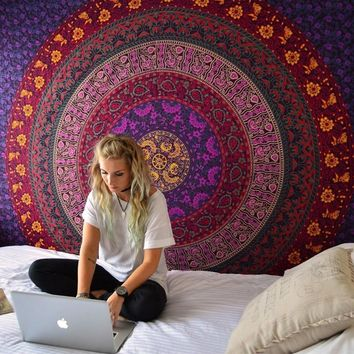 Enipate Large Mandala Indian Tapestry Wall Hanging Bohemian Beach Towel Polyester Thin Blanket Yoga Shawl Mat 180x146cm Blanket