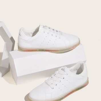 Lace-up Front Jelly Sole Sneakers