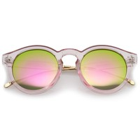 Transparent Metal Temple Keyhole Bridge Mirror Lens P3 Round Sunglasses 50mm