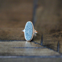 Long Oval Druzy Ring - Teal
