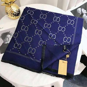 GUCCI Newest Fashionable Women Men Cashmere Cape Scarf Scarves Shawl Accessories Blue